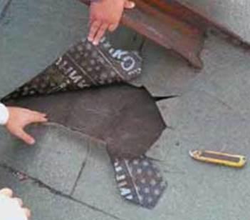 Ремонт битумно-черепичного покрытия гаража